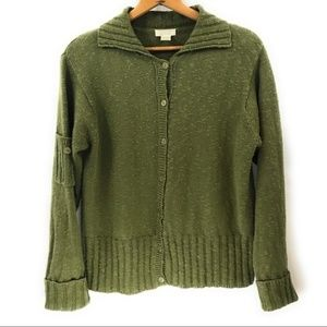 Christopher & Banks Olive Green Button Cardigan, L